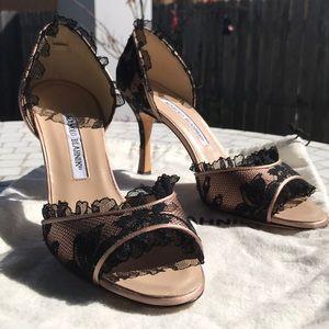Manolo Blahnik Lace Peep Toe Size IT 37.5, US 7